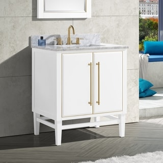 Avanity Mason 31 in. Single Sink Bathroom Vanity Set in White with Gold Trim