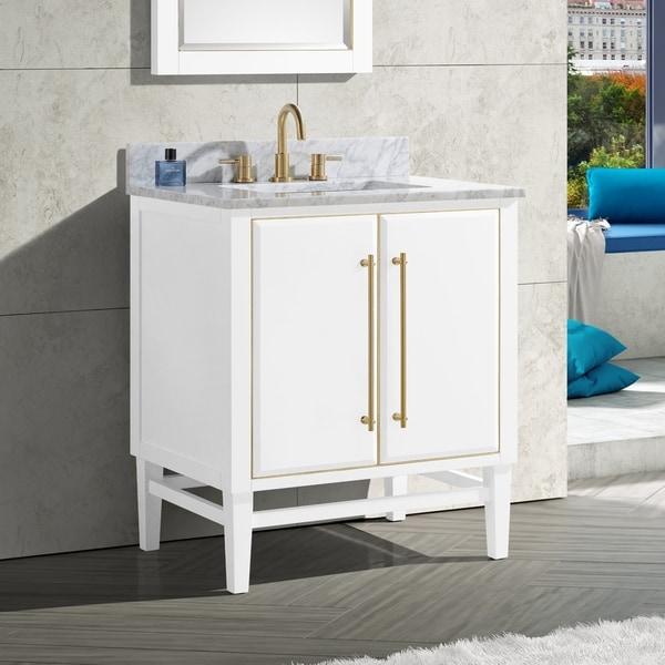 Avanity Mason 31 in. Single Sink Bathroom Vanity Set in White with Gold Trim