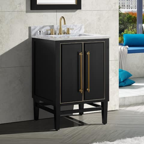 Avanity Mason 25 in. Single Sink Bathroom Vanity Set in Black with Gold Trim