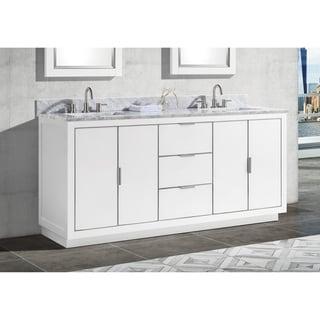 Avanity Austen 73 in. Double Sink Bathroom Vanity Set in White with Silver Trim