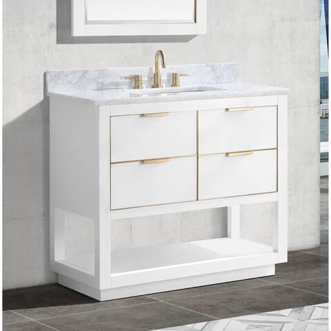 Avanity Allie 37 in. Single Sink Bathroom Vanity Set in White with Gold Trim