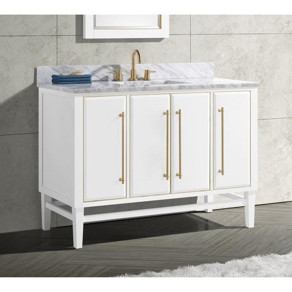 Avanity Mason 49 in. Single Sink Bathroom Vanity Set in White with Gold Trim