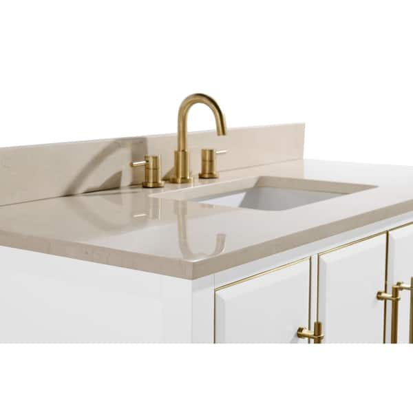 Avanity Mason 49 In Single Sink Bathroom Vanity Set In White With Gold Trim Overstock 28671220