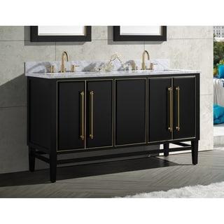 Avanity Mason 61 in. Double Sink Bathroom Vanity Set in Black with Gold Trim