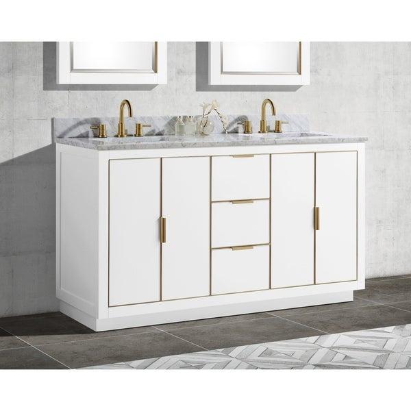 Avanity Austen 61 in. Double Sink Bathroom Vanity Set in White with Gold Trim