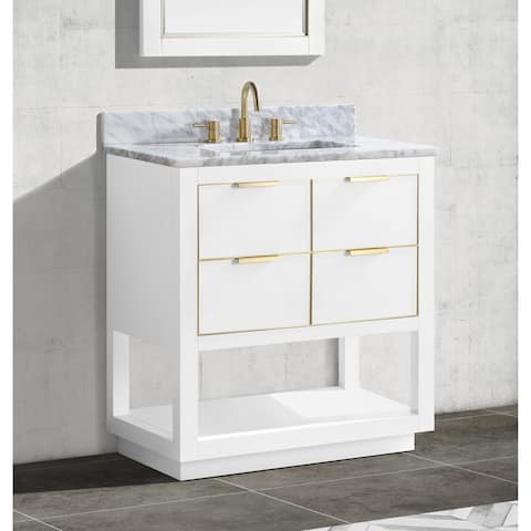 Avanity Allie 31 in. Single Sink Bathroom Vanity Set in White with Gold Trim