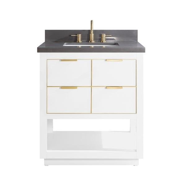Avanity Allie 31 In. Single Sink Bathroom Vanity Set In White With Gold  Trim - Overstock - 28671241 - Gray Quartz