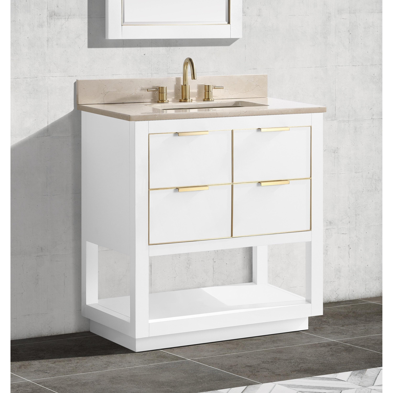 Avanity Allie 31 In Single Sink Bathroom Vanity Set In White With Gold Trim Overstock 28671241 Gray Quartz