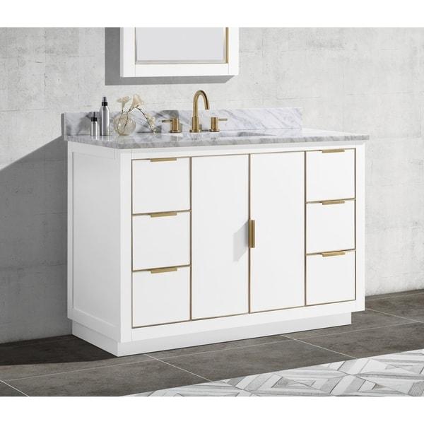 Avanity Austen 49 in. Single Sink Bathroom Vanity Set in White with Gold Trim