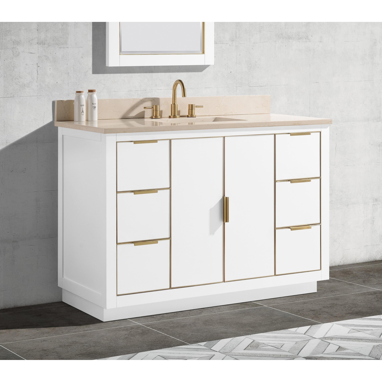 Avanity Austen 49 In Single Sink Bathroom Vanity Set In White With Gold Trim Overstock 28671248