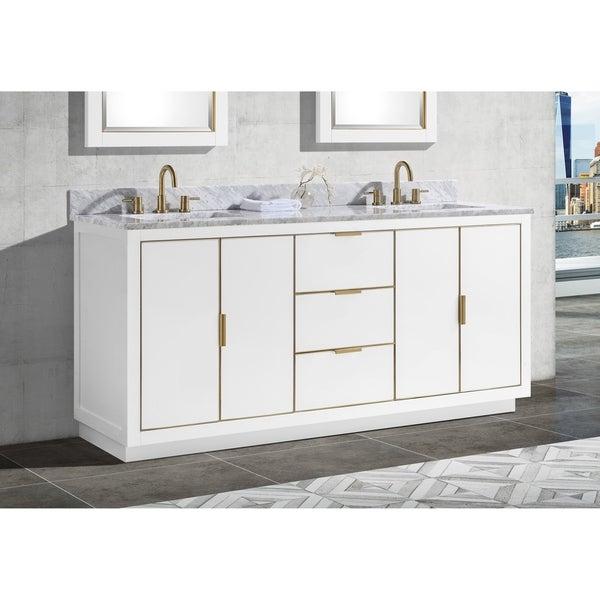 Avanity Austen 73 in. Double Sink Bathroom Vanity Set in White with Gold Trim