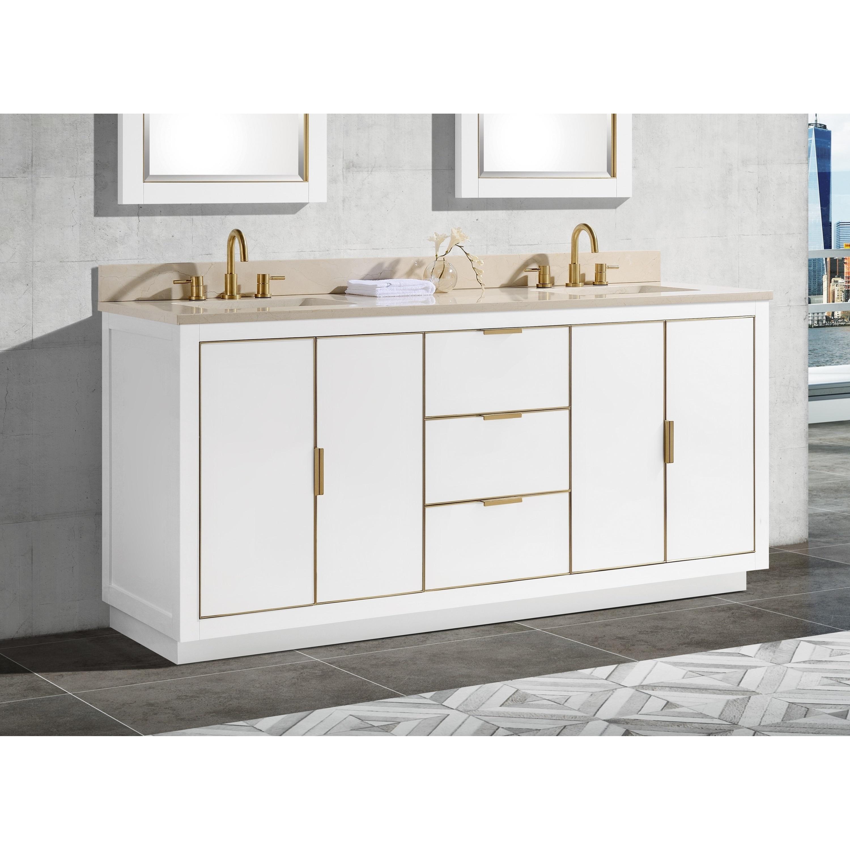 Avanity Austen 73 In Double Sink Bathroom Vanity Set In White With Gold Trim Overstock 28671316