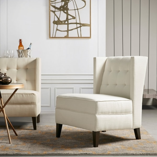 Shop Martha Stewart Lucia Ivory 34.5 Inch Extra Wide Accent Chair   Free  Shipping Today   Overstock   28671712