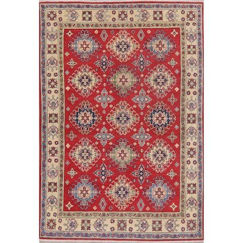 "Kazak Traditional Oriental Hand Knotted Wool Pakistani Area Rug - 7'3"" x 4'11"""