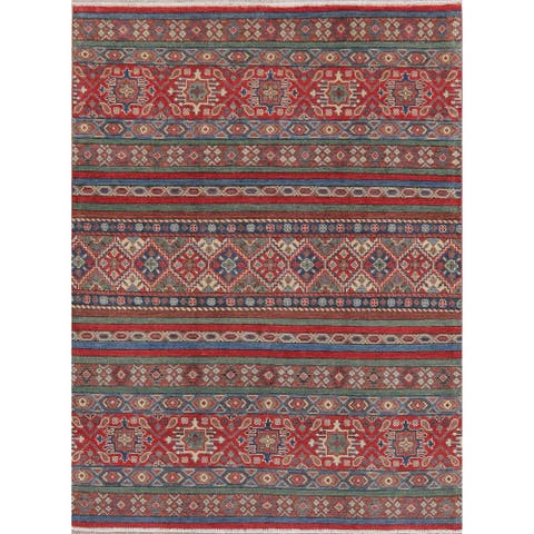 "Traditional Oriental Hand Knotted Wool Kazak Pakistani Area Rug - 6'9"" x 5'1"""