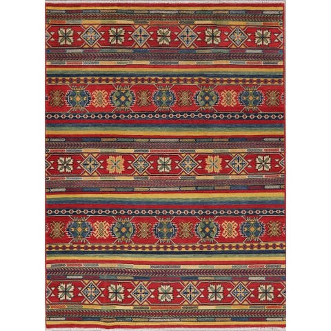 "Kazak Traditional Oriental Hand Knotted Wool Pakistani Area Rug - 6'10"" x 5'1"""