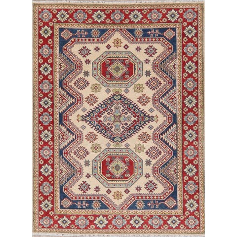 "Oriental Traditional Hand Knotted Wool Pakistani Kazak Area Rug - 6'8"" x 5'0"""