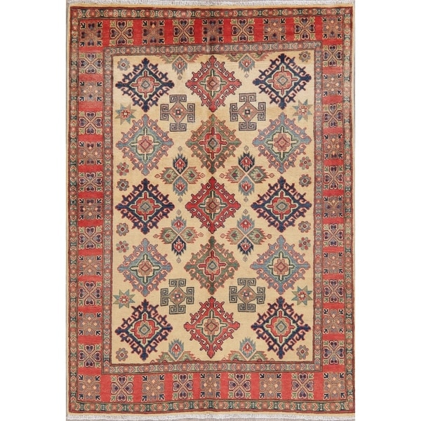 """Kazak Oriental Traditional Hand Knotted Wool Pakistani Area Rug - 6'10"""" x 4'11"""". Opens flyout."""