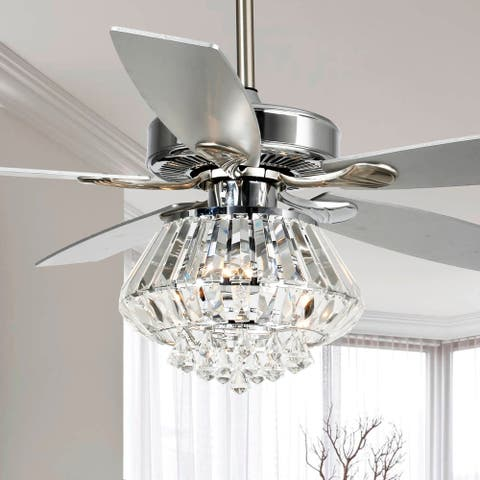Modern Chrome Crystal 52-Inch 5-Blade Ceiling Fan with Remote