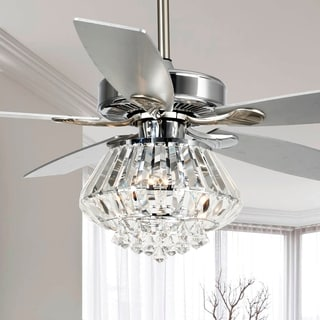 Modern 52-inch Chrome 5-Blade Crystal Ceiling Fan with Remote