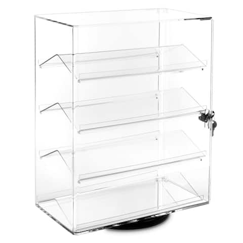 Lockable Rotating Acrylic Display Case w/ 4 Removable Shelves
