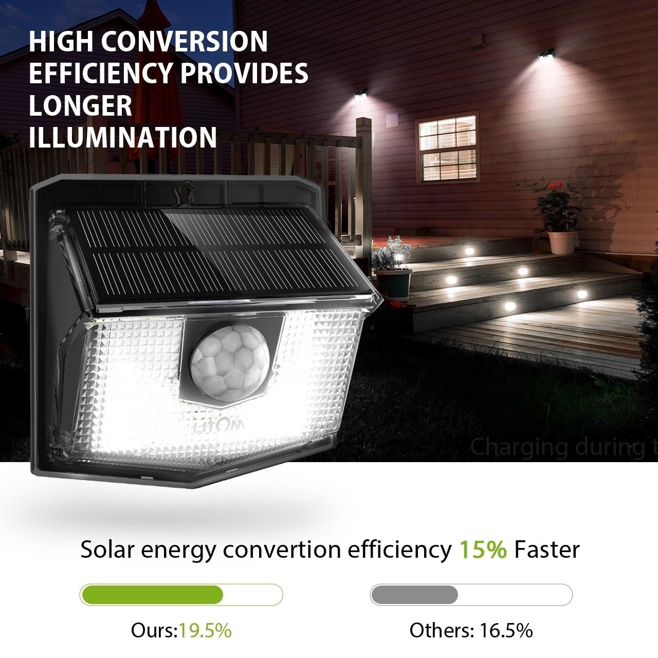 4 Pack Solar Power Sensor Wall Light Security Motion Weatherproof Outdoor Lamp