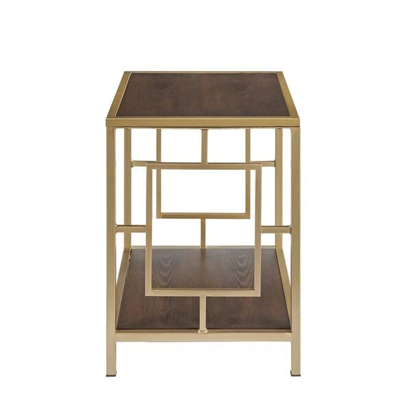 Martha Stewart Renee Walnut Antique Gold 22 Inch End Table Overstock 28673859