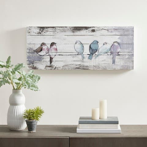 Madison Park Perched Birds White/Grey Hand Painted Wood Plank