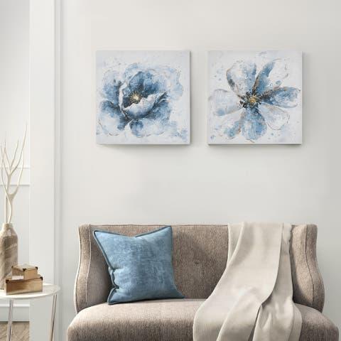 Madison Park Gleaming Blue Florals Blue Printed Canvas 2 Piece Set