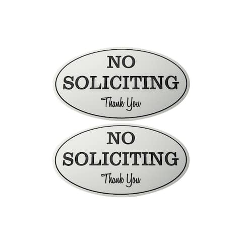 2-Pack No Soliciting Signs Door Yard No Solicitation Sign Sticker Decal Aluminum