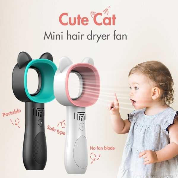 Rechargeable Handheld Portable Mini Fan Bladeless Mute Cooling Fan Desktop Air Cooler USB With 3-Gear Speed Cute Cat-Shape