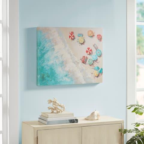 Urban Habitat Aerial Beach Multi Printed Canvas with Gel Coat