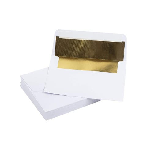 50-Pack A7 5x7 Gold Foil Lined Luxury Embossed Flap Envelopes for Invites Photos