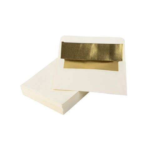 50-Pack A7 Gold Foil Lined Luxury Embossed Flap Envelopes 5x7 for Invitation