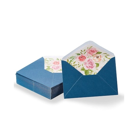 50-Pack A1 Blue Special Occasion Envelopes 3x5 w/ Watercolor Floral Lining