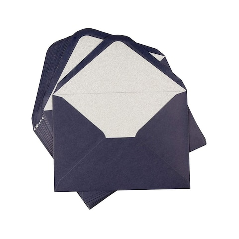 """24-Pack Blue A7 Luxurious Envelopes w/ Silver Glitter Lining, 5"""" x 7"""" V-Flap"""