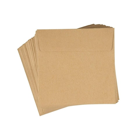 "100-Pack Kraft Brown 5.5"" x 5.5"" Square Flap Envelopes for Invites Notes Photos"