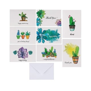 "96 All Occasion Greeting Cards Assortment Succulent Design w/Envelopes, 4"" x 6"""