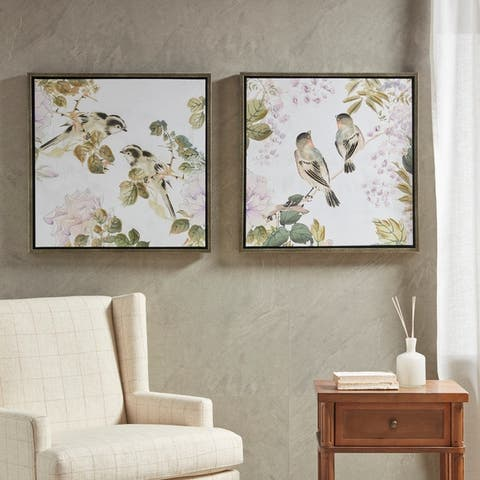 Martha Stewart Woodland Birds Framed Canvas with Embellishment 2 Piece Set