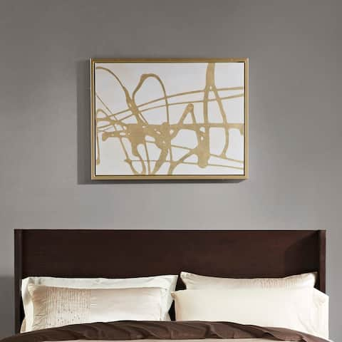 Martha Stewart Study in Gold & White Framed Canvas with Gold Foil