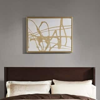 Martha Stewart Study in Gold & White Multi Framed Canvas with Gold Foil