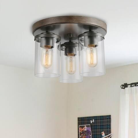 Carbon Loft Latrice 3-light Flush Moung Rust Ceiling Fixture