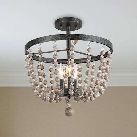 "Carbon Loft Dathan Large 3-light Distressed Wood Beads Ceiling Light - D11"" x H11.2"""
