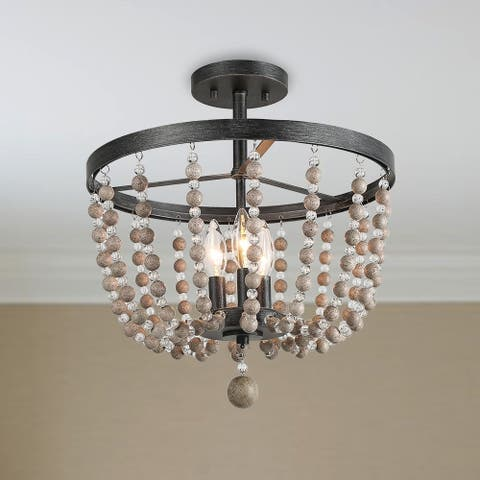 "Carbon Loft Dathan Large 3-light Flush Mounts Distressed Wood Beads Ceiling Lights - D11"" x H11.2"""