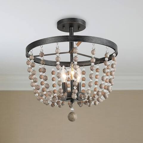"Carbon Loft Dathan Large 3-light Distressed Wood Beads Ceiling Light - D11"" x H11.2"""