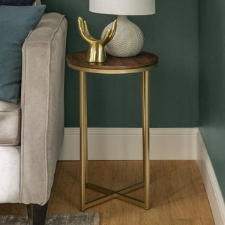 """Office Accents 16"""" Round Wood Side Table with Metal Base - Dark Walnut/Gold"""