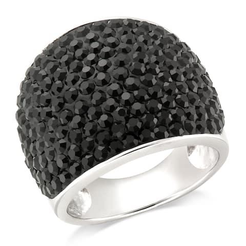Forever Last Sterling Silver Black Wide Cigar Band Ring