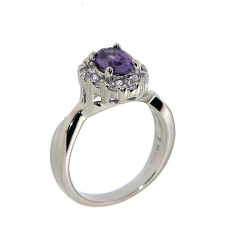 Forever Last Sterling Silver Purple & White Ring