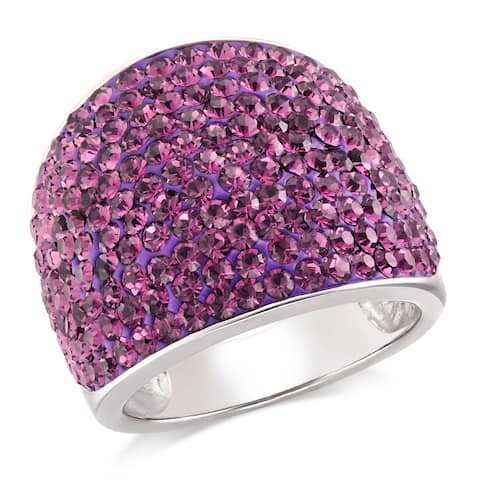 Forever Last Sterling Silver Purple Wide Cigar Band Ring