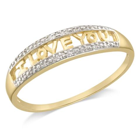 """Forever Last Sterling Silver Gold Plated """"I LOVE YOU"""" Diamond Ring"""